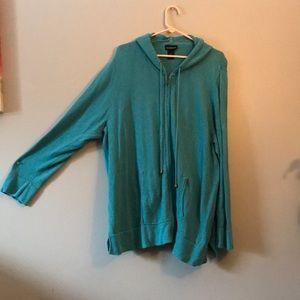 Teal zip up sweater jacket